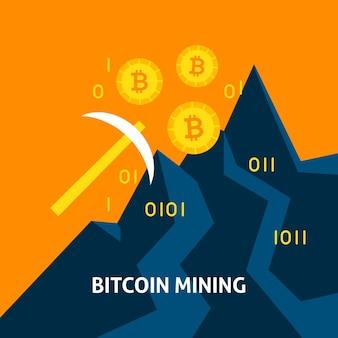 Bitcoin 마이닝 mattock 개념입니다. 금융 기술의 벡터 일러스트 레이 션.