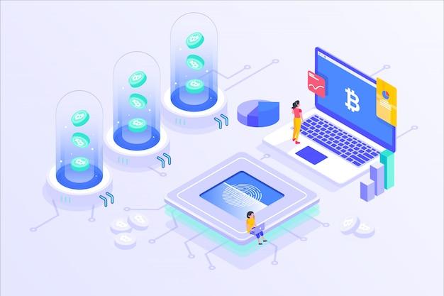 Блоковая криптовалюта bitcoin mining online server изометрические вектор illustartion дизайн