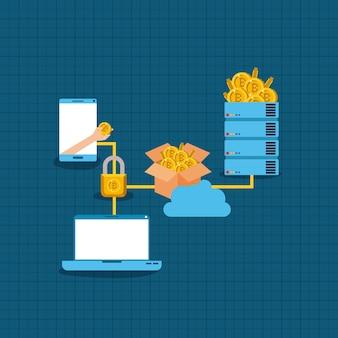 Bitcoin mining set icons