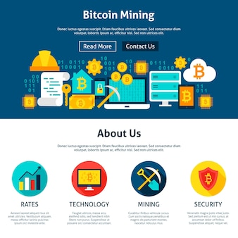 Bitcoin mining website design. flat style vector illustration for web banner and landing page.