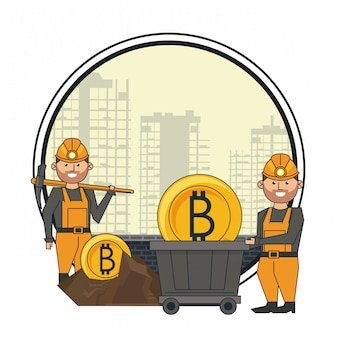 Bitcoin mining and workers with pick