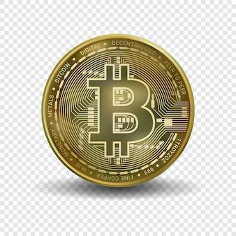 透明な背景に分離されたビットコインのお金。暗号通貨のためのゴールデンビットコインコインブロックチェーンテクノロジー。リアルなイラスト。