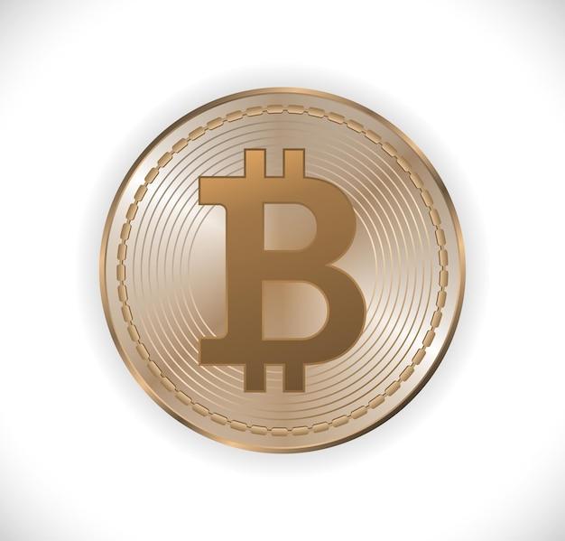 Биткойн деньги металл золото значок