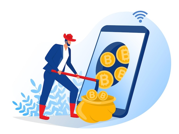 Bitcoin out of smartphone screen concept illustration