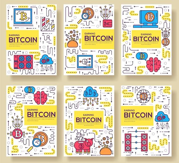 ビットコインアウトラインアイコンコレクションセット。細い線のアイコン、ロゴ、シンボル、ピクトグラムのテンプレート。