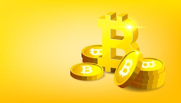 비트코인. 실물 비트코인. 디지털 암호화폐. bitcoin 기호가 있는 황금 동전.