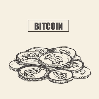 Bitcoin. physical bit coin. digital currency. cryptocurrency. hand draw bitcoin. stock  illustration.