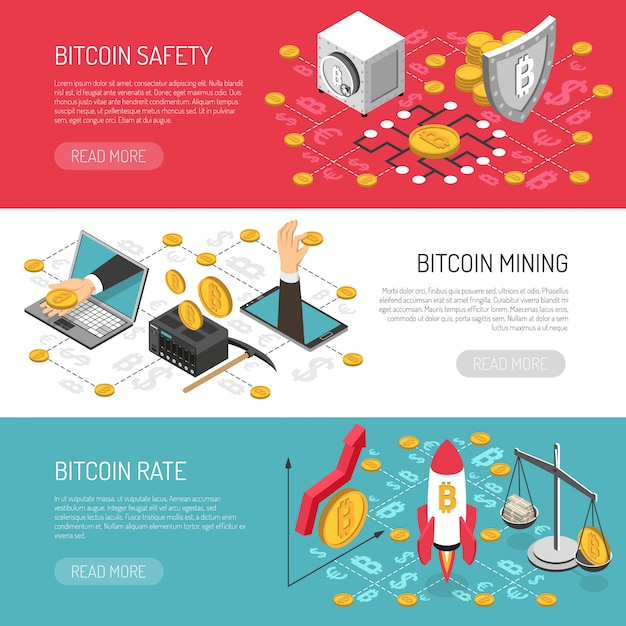 Bitcoin rate safety isometric banners