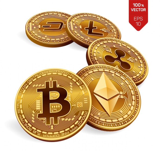 Bitcoin, ripple, ethereum, dash and litecoin physical coins cryptocurrency.