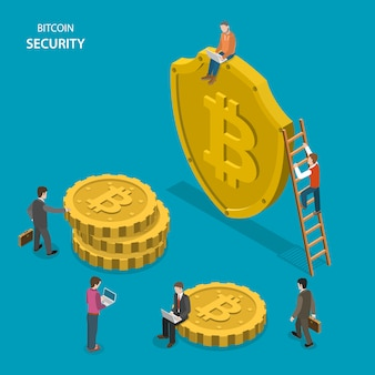 Bitcoin security isometric flat vector concept.