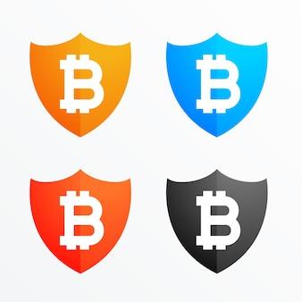 Bitcoin shield secure symbol icons set