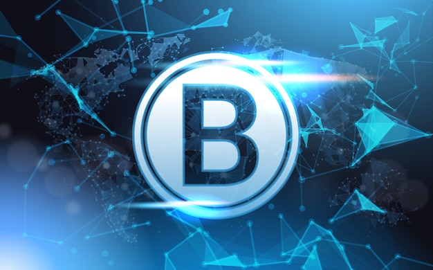 Bitcoin sign over futuristic low poly mesh wireframe. crypto currency mining concept