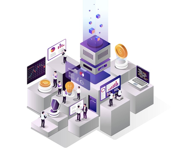 Bitcoin stock investment process in isometric design