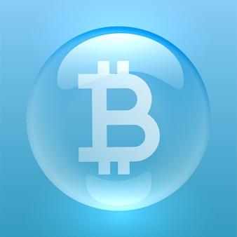 Символ биткойн внутри пузыря