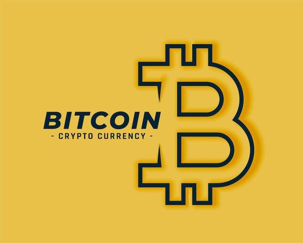 Simbolo di bitcoin in stile art linea su giallo