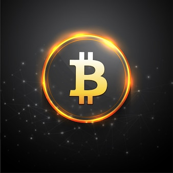 Bitcoin symbol with golden circle on grey background.