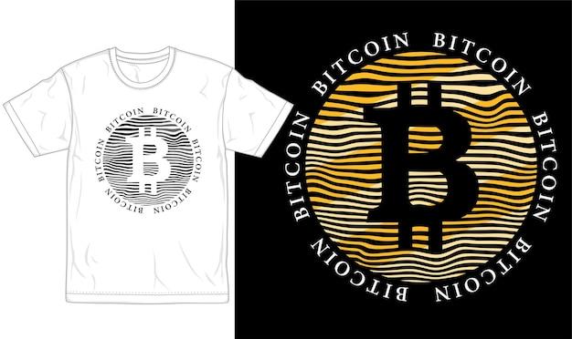 비트 코인 티셔츠 디자인 그래픽 타이포그래피 및 로고