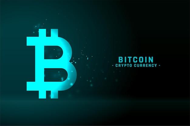 輝く青い色のビットコイン技術の背景