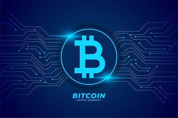 Sfondo di tecnologia bitcoin con linee di circuito