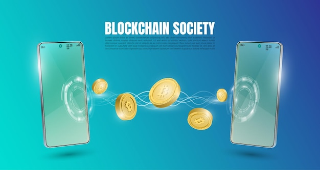 Bitcoin technology concept with the mobile trading background. realistic vector illustration.