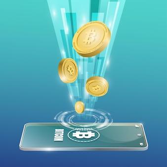 모바일 배경으로 bitcoin 기술 개념입니다. 현실적인 벡터 일러스트 레이 션.