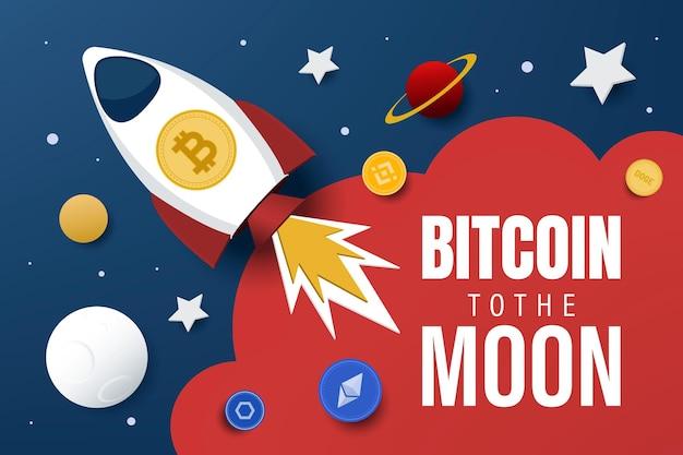 Биткойн на луну. векторная иллюстрация