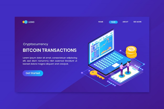 Bitcoin transactions cryptocurrency landing page template