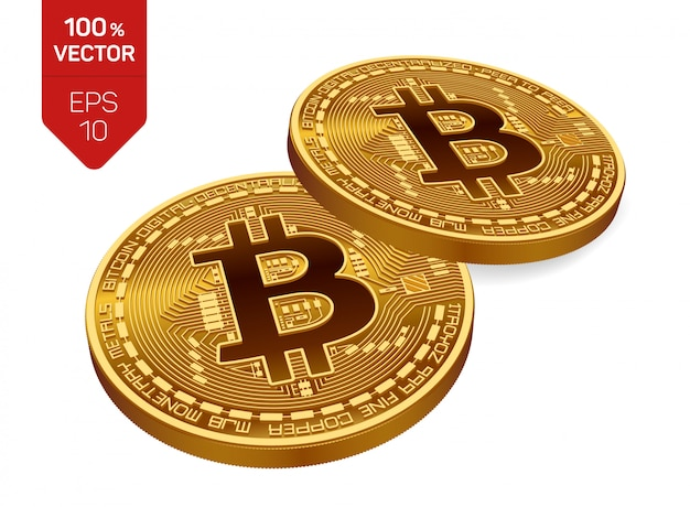 Bitcoin. two golden coins with bitcoin isolated. cryptocurrency.