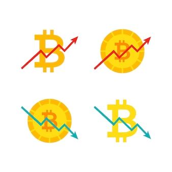 Bitcoin up down graph. vector illustration with financial diagram isolated over white.