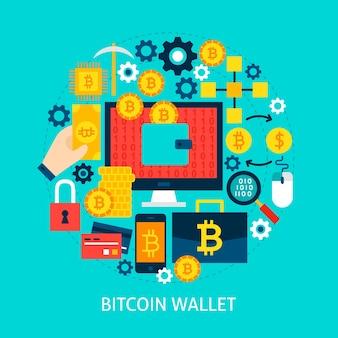 Bitcoin 지갑 평면 개념입니다. 포스터 디자인 벡터 일러스트 레이 션. cryptocurrency 개체 집합입니다.