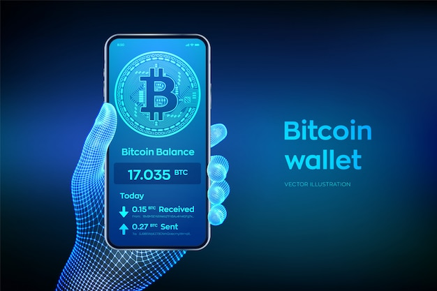 Bitcoin wallet interface on smartphone screen. closeup mobile phone in wireframe hand.