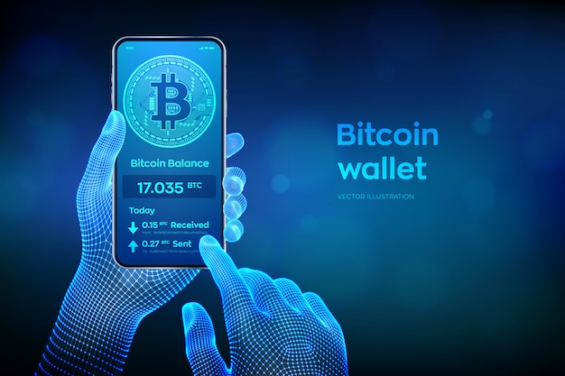 Bitcoin wallet interface on smartphone screen. closeup mobile phone in wireframe hands.