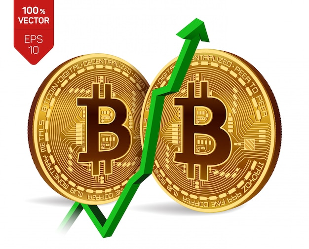 Bitcoin with green arrow up. bitcoin index rating go up on exchange market.