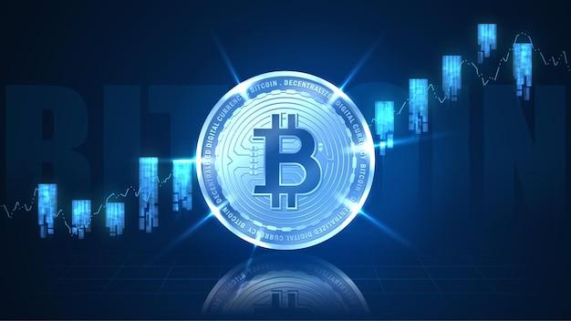 未来的なコンセプトのインジケーターを備えたビットコイン