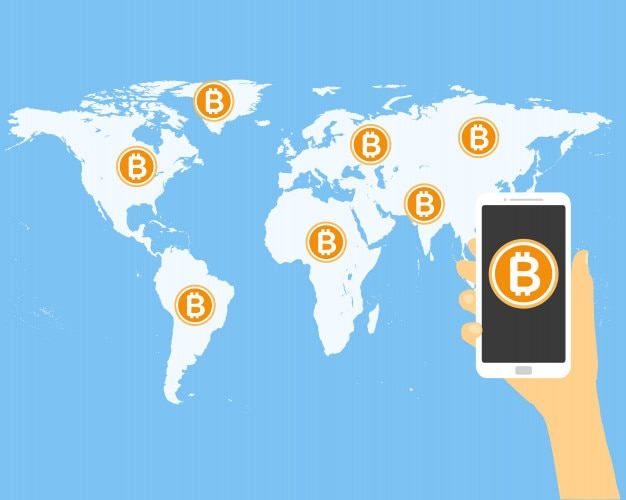 Bitcoin worldwide hand holding smartphone bit coin icon vector flat design.