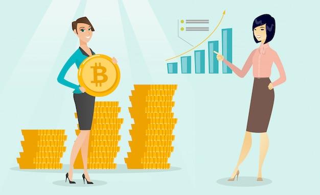 ビジネスの女性はbitcoin成長グラフを指しています。