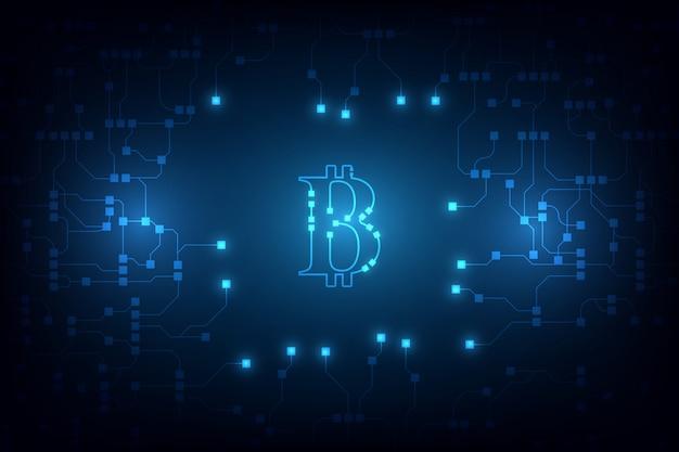 デジタルbitcoin暗号通貨のベクトルの背景。ビットコインのベクトル図の背景
