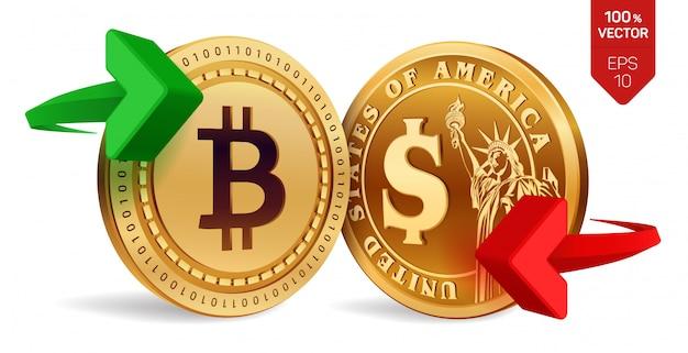 Обмен биткойнов на доллар. bitcoin. долларовая монета. криптовалюта.