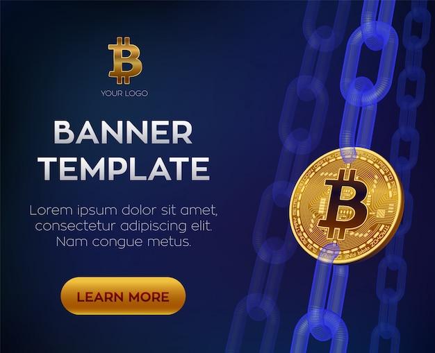 Bitcoin. золотая монета биткойн с цепочкой цифровых блоков