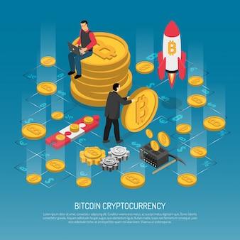 Технология криптовалюты bitcoin изометрическая иллюстрация