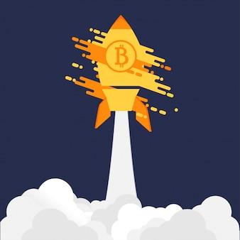 Bitcoinロケットを紫色の背景に打ち上げる