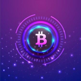 Bitcoinは光沢のある紫色の背景に