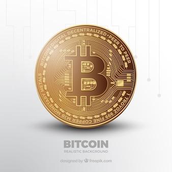 光沢のあるコインでbitcoinの背景