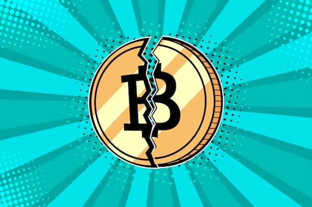 ポップアートゴールデンbitcoinコイン