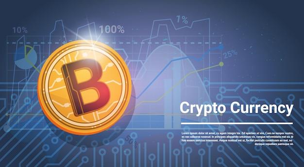 Золотой bitcoin цифровая валюта современные веб-деньги синий фон с диаграммами и графиками