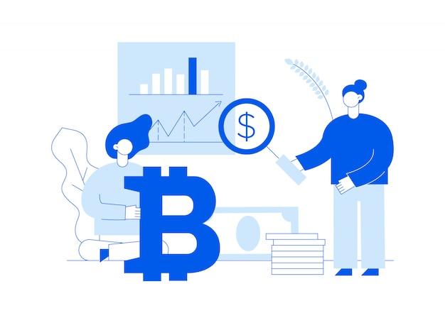 ベクトルbitcoin投資モダンなフラットライン図
