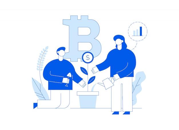 大きなトレンディな人々とbitcoin投資モダンなフラットラインランディングページ。