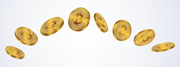 Изолировать монету биткойнов на сером фоне