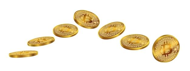 白い背景の上のビットコインコイン分離