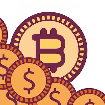 Bitcoins and coins icon